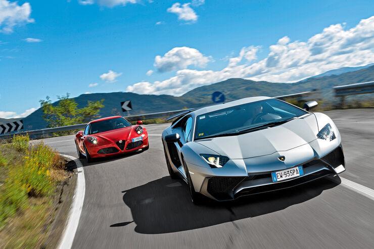 Alfa 4C, Lamborghini Aventador LP750  SV, Frontansicht
