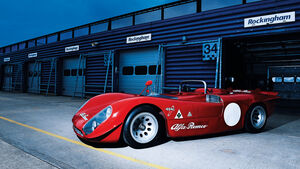 Alfa Romeo T33/3, Seitenansicht, Boxengasse