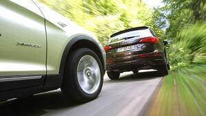 Audi Q5 3.0 TDI Quattro, BMW X3 x-Drive 30d, beide Fahrzeuge, Rückansicht