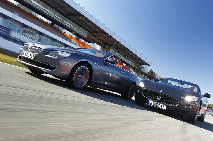 BMW 650i Cabriolet, Maserati GranCabrio, beide Fahrzeuge, Frontansicht