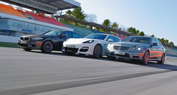 BMW M5, Mercedes E 63 AMG, Porsche Panamera Turbo S, Frontansicht