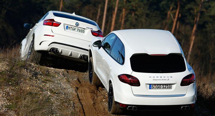 BMW X6 M, Porsche Cayenne Turbo S, Frontansicht