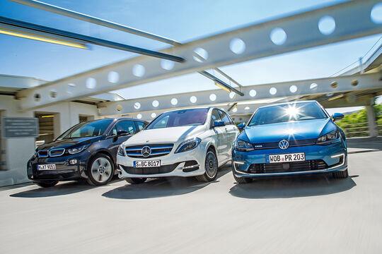 BMW i3, Mercedes B-Klasse Electric Drive, VW e-Golf, Frontansicht