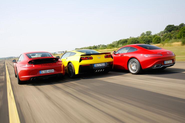Corvette, Mercedes-AMG GT und Porsche 911 GTS im Dreikampf ...