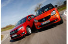 Dacia Sandero TCe 90, Smart Forfour 0.9, Frontansicht