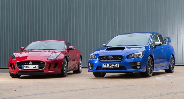 Jaguar F-Type, Subaru WRX STi, Frontansicht