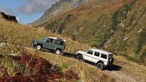 Land Rover Defender 90 TD4, Mercedes-Benz G 280 CDI Edition Pur in den Alpen unterwegs