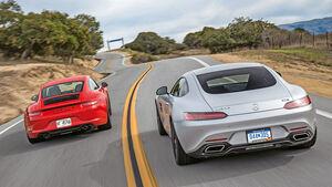 Mercedes AMG GT S, Porsche 911 Carrera GTS, Heckansicht