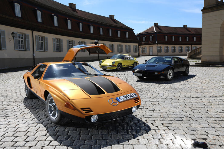 bmw m1 mercedes c111 und porsche carrera rs 2 7 sportwagen tr ume der 1970er auto motor und. Black Bedroom Furniture Sets. Home Design Ideas