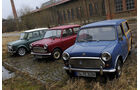 Morris Mini Minor 850, Austin Mini Traveller 1000 Mk II und Mini Cooper 1.3i