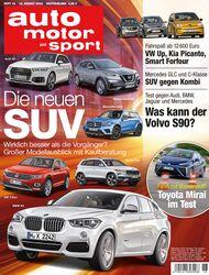 Neues Heft, auto motor und sport, Ausgabe 18/2016, Vorschau, Preview