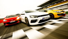 Opel Astra OPC, VW Scirocco R, Renault Mégane R.S., Frontansicht