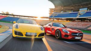 Porsche 911 Carrera S, Mercedes-AMG GT, Frontansicht