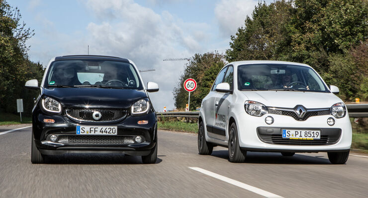 Renault Twingo SCe 70 Energy, Smart Forfour 1.0, Frontansicht