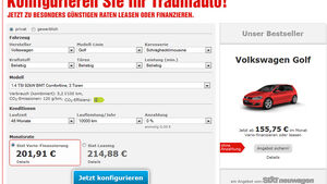 Sixt Leasingangebot VW Golf Screenshot