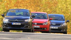 VW Golf, Citroen C4, Toyota Auris