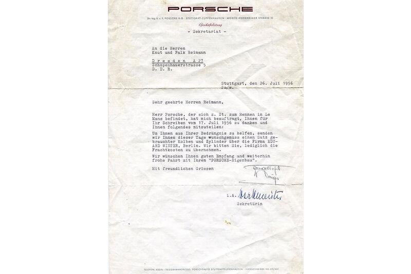 """""""Lindner-Porsche"""" 356 Coupé (1954) Brief von Ferry Porsche"""
