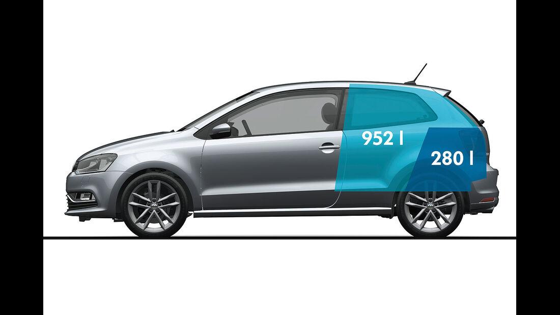 01/2014, VW Polo 2014 Facelift, Vermaßung, Bemaßung