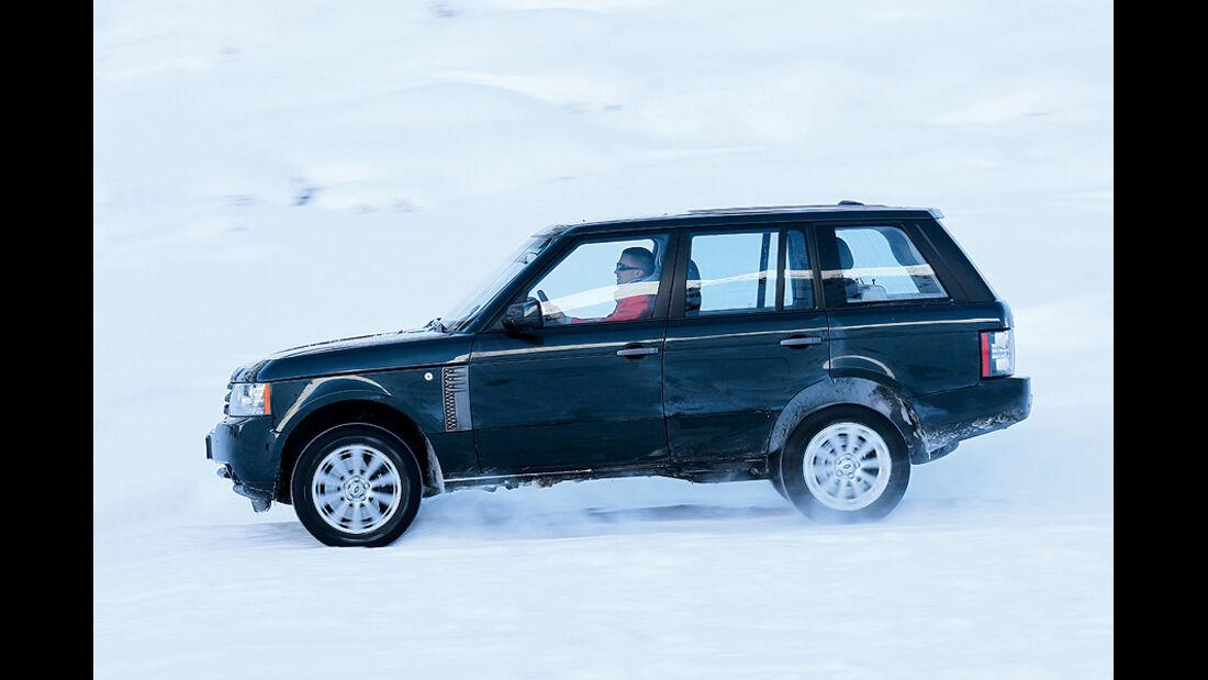 0111, ams 02/2011, Traktionsvergleich, Allradantrieb, Schnee, Range Rover