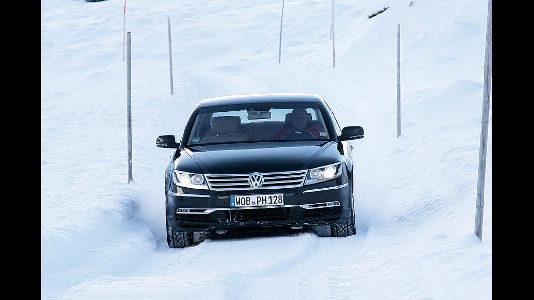 0111, ams 02/2011, Traktionsvergleich, Allradantrieb, Schnee, VW Phaeton