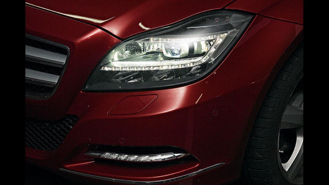 0111, ams 03/2011, Lichttest, Scheinwerfer Mercedes CLS