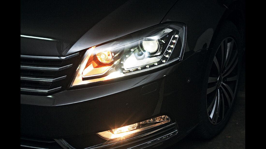 0111, ams 03/2011, Lichttest, Scheinwerfer VW Passat