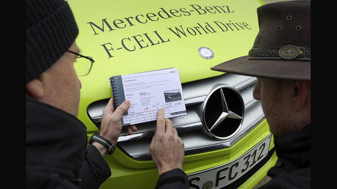 02/11 Mercedes F-Cell World Drive. 3.Etappe Paris - Lyon, Mercedes B-Klasse, Brennstoffzelle
