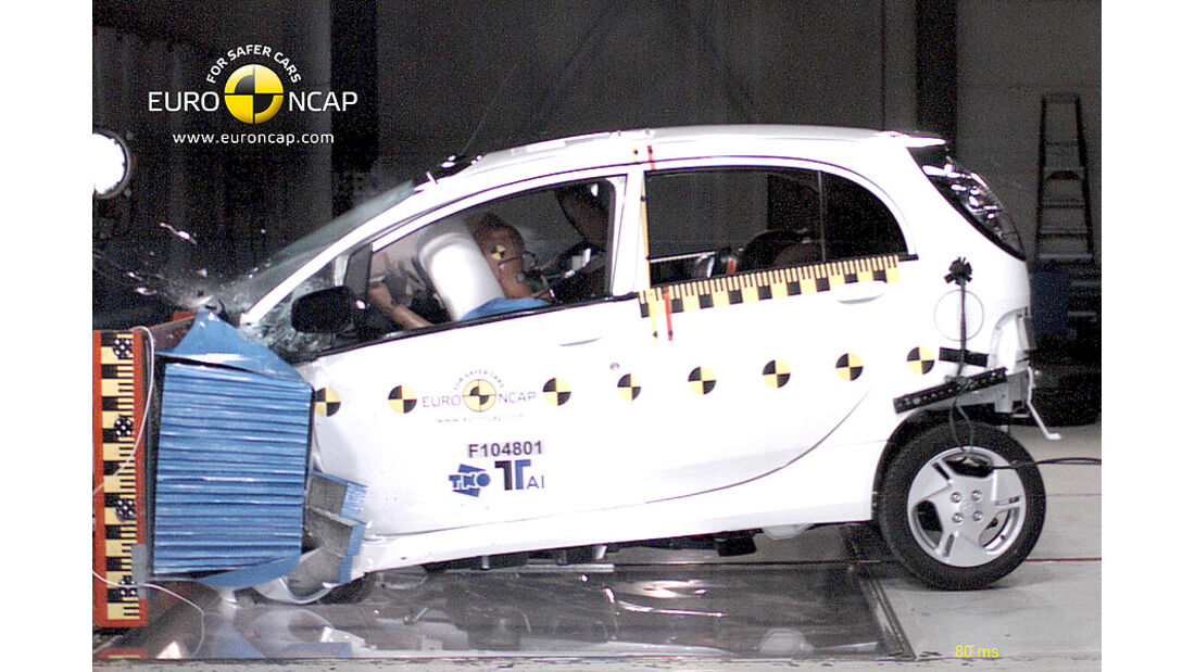 02/2011, EuroNCAP, Crashtest, Ergebnis Mitsubishi i-Miev, Frontcrash