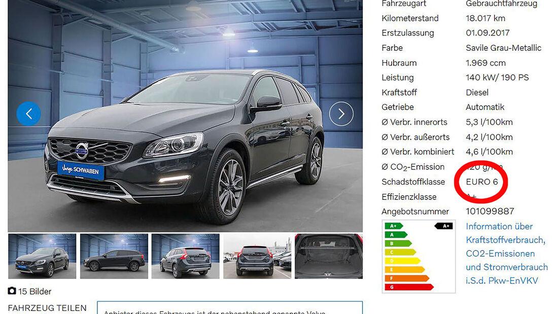 02/2019, Screenshots Recherche Abgasnorm-Angabe Hersteller-Websites