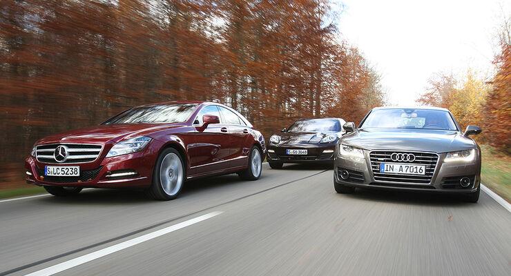 03/11 aumospo 07/2011 Mercedes CLS 350, Audi A7 3.0 TFSI Quattro, Porsche Panamera