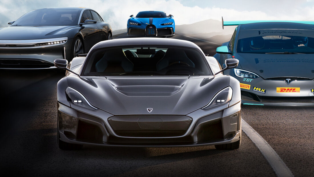 04/2021, Rimac C-Two vs Lucid Air vs Tesla Model S Plaid vs Bugatti Chiron