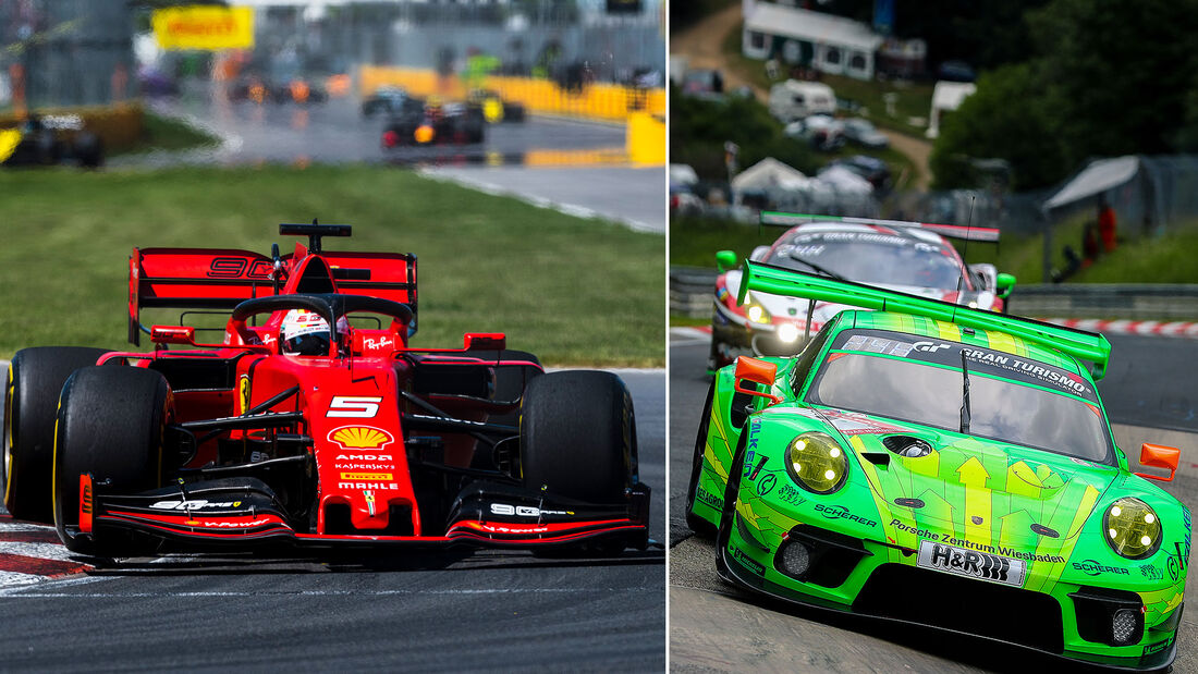 06/2019, Formel 1 Ferrari Sebastian Vettel / 24h Nürburgring Manthey-Porsche