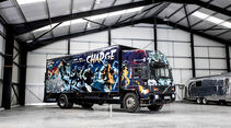 09/2019, Volvo FL 6 von 1988 mit Banksy-Graffito
