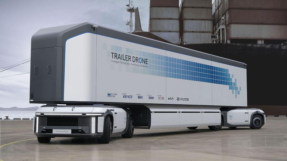 09/2021, Hyundai Trailer Drone autonomer Wasserstoff Lkw