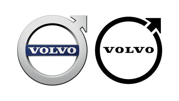 09/2021, Volvo Logo alt 3D farbig vs neu 2D schwarz/weiß