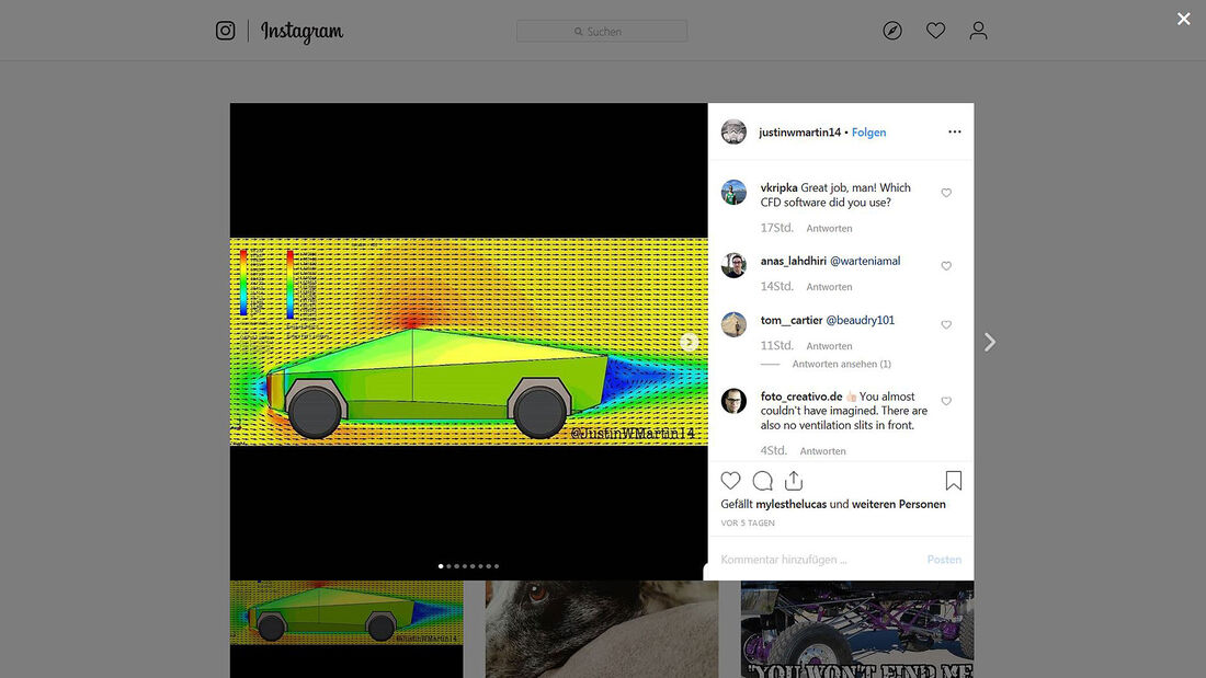 11/2019, Tesla Cybertruck CAD-Simulation