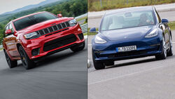 11/2020, Jeep Grand Cherokee Trackhawk und Tesla Model 3 CO2-Pooling