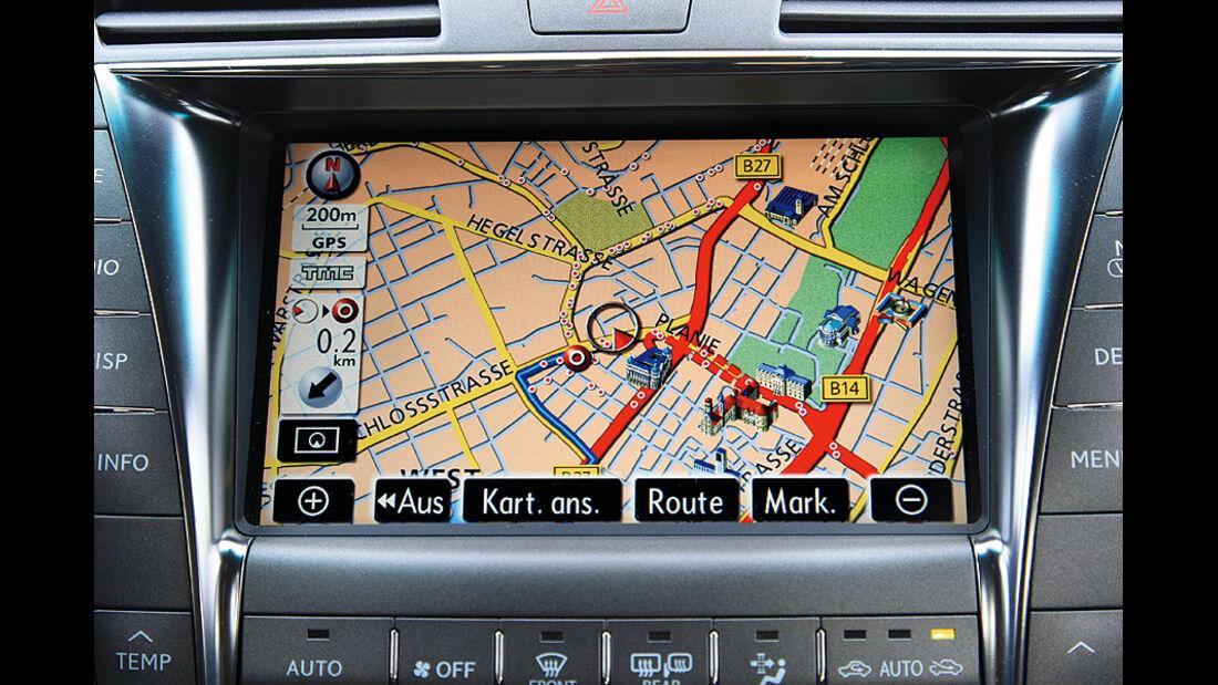 1210, Dauertest Lexus LS600h, Navigationsbildschirm
