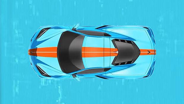 2021er Corvette C8 mit Gulf Oil Lackierung