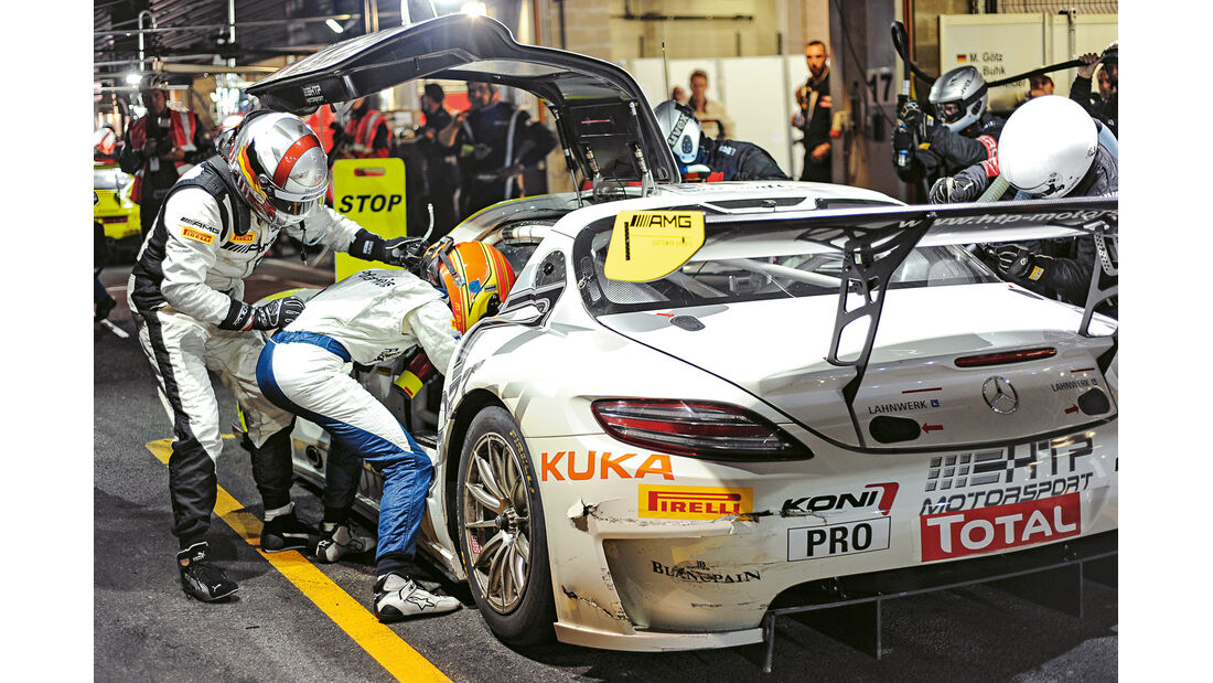 24 h Spa, Mercedes SLS, Boxenstopp