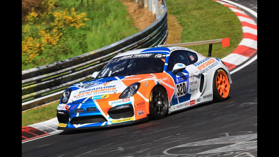 24h-Rennen Nürburgring 2017 - Nordschleife - Startnummer 320 - Porsche Cayman GT4 CS - Sponsor: Care For Climate - Klasse Cup 3