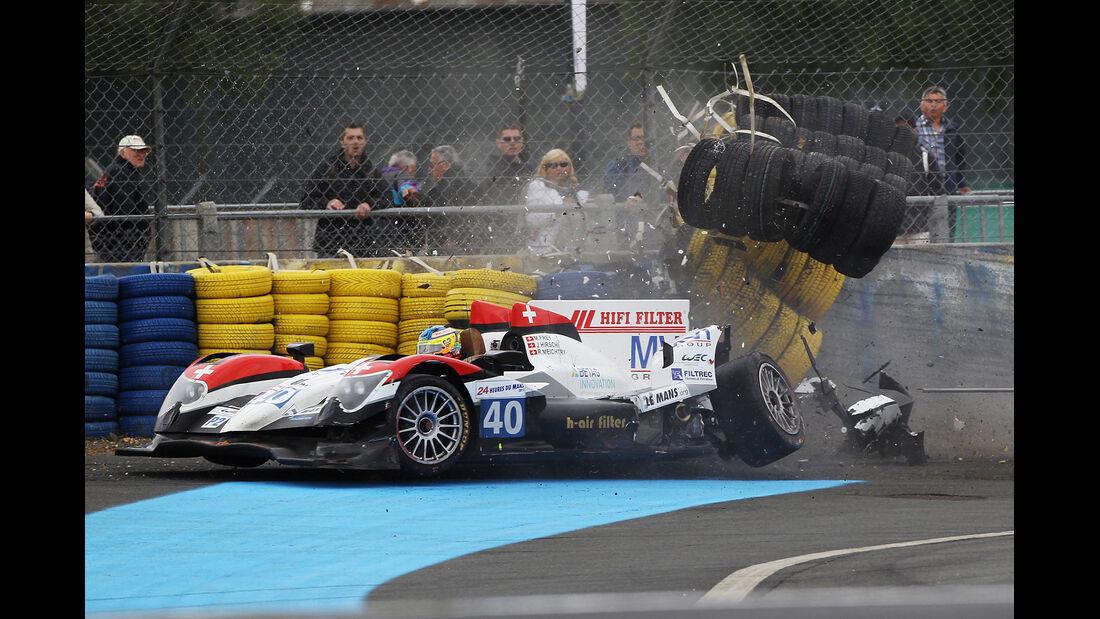 40 RACE PERFORMANCE M. Frey / J. Hirschi / R. Meichtry Oreca 03 - Judd crashed 03.06.2012. Le Mans Testing, FIA World Endurance Championship, Le Mans