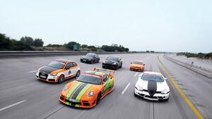 9ff Porsche 911 GT3, MKB Mercedes SLR McLaren, G-Power BMW M3, MTM Audi A1, Mathilda VW Scirocco R, Speedart Porsche Cayenne Turbo, Gruppenbild, Nardo