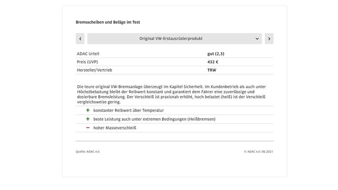 ADAC Bremsen Test 2021