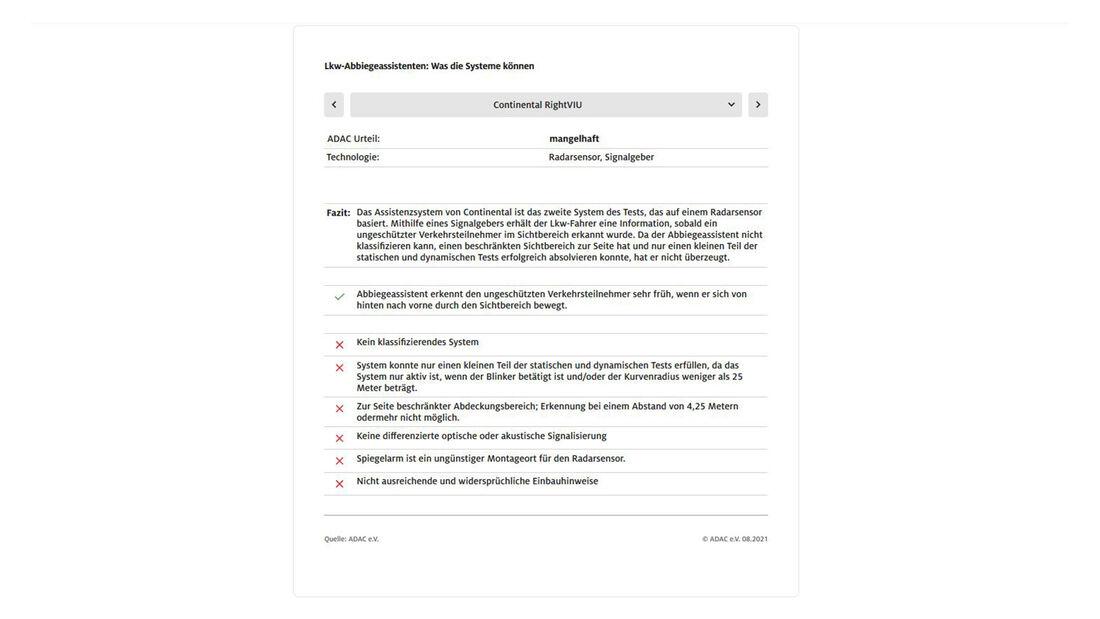 ADAC Lkw-Abbiegeasisstenten Test Continental