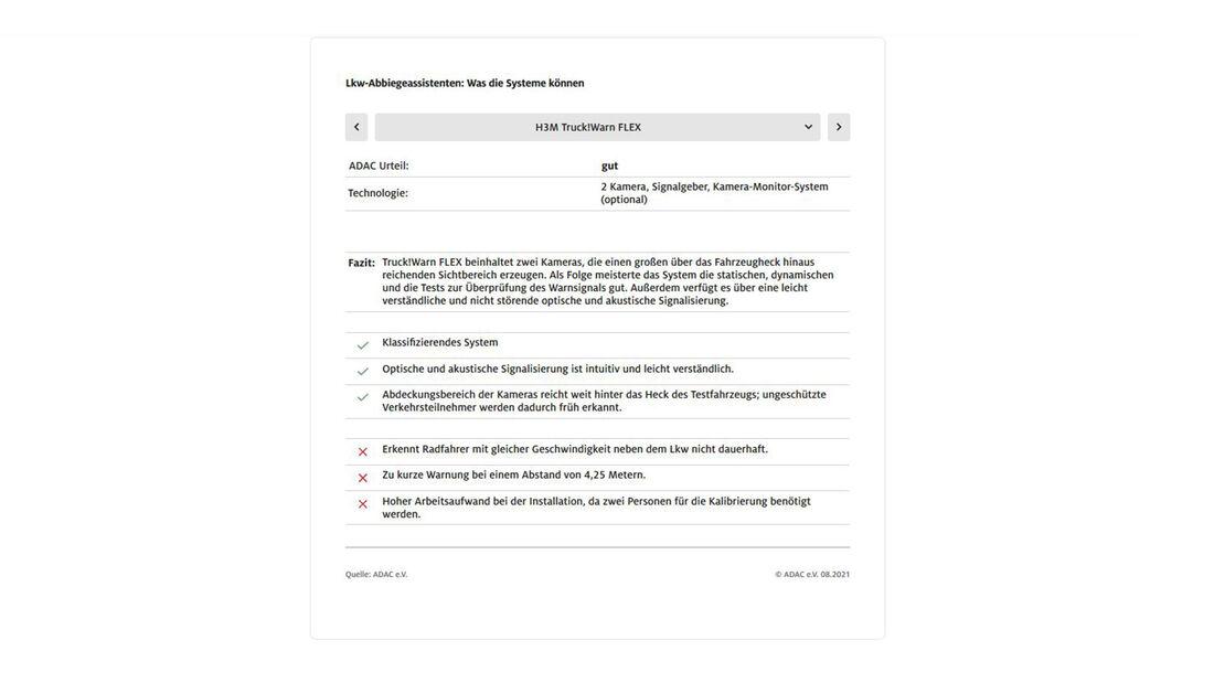 ADAC Lkw-Abbiegeasisstenten Test H2M