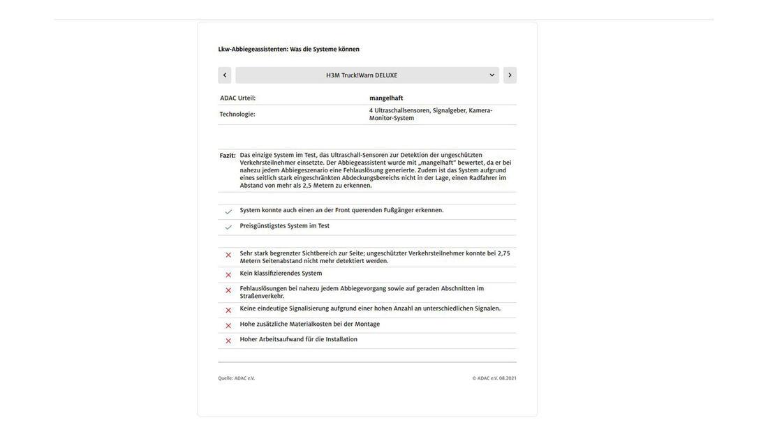 ADAC Lkw-Abbiegeasisstenten Test H3M