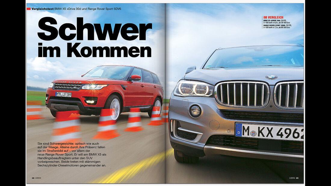 AMS Heft 4 2014 Range Rover Sport vs. BMW X5