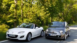 Abarth 500C, Mazda MX-5 2.0, beide Fahrzeuge, Frontansicht