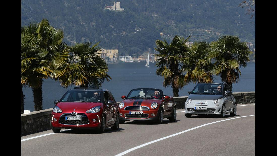 Abarth 595C, Citroën DS3, Mini Roadster, Frontansicht